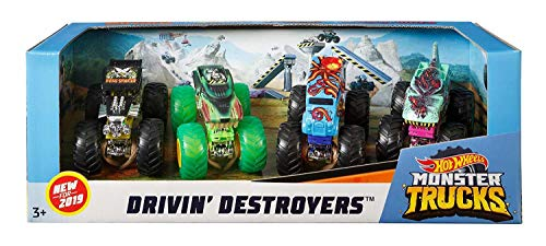 Hot Wheels Monster Trucks 1:64 Scale 4Pack Assortment with Giant Wheels Gift idea for Kids 3 to 6 Years Old Amazon Exclusive