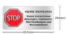 Briefkasten Aufkleber STOP KEINE WERBUNG