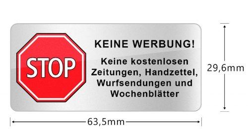 haggiy® Briefkasten Aufkleber 'STOP KEINE WERBUNG!'(64 * 30 mm) mit 3 Jahren UV-Garantie, Wetter&Schmutz beständig (kein Papier)