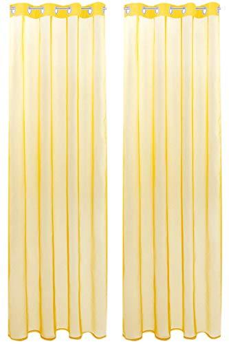 Bestlivings Transparente Gelbe Gardine mit Ösen 2er Pack (B140 x L175), viele Varianten erhältlich