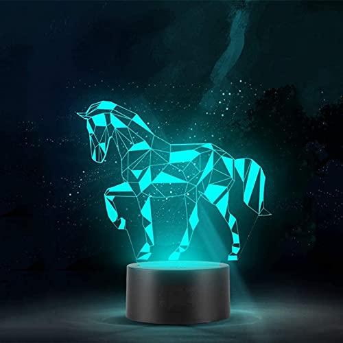 Zenghh Luz de Noche LED 3D ilusión óptica, Nordic Elegante Caballo con el Diamante Efecto, Arte geométrico decoración de la Talla de Noche Dormitorio de la lámpara, Regalos for los n