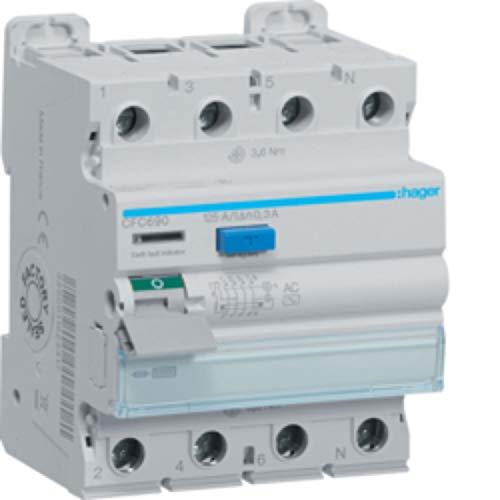 Interruptor diferencial tipo AC, 4P, 125A, 300mA, color blanco, 7 x 7,2 x 8,5 centímetros (referencia: Hager CFC690)