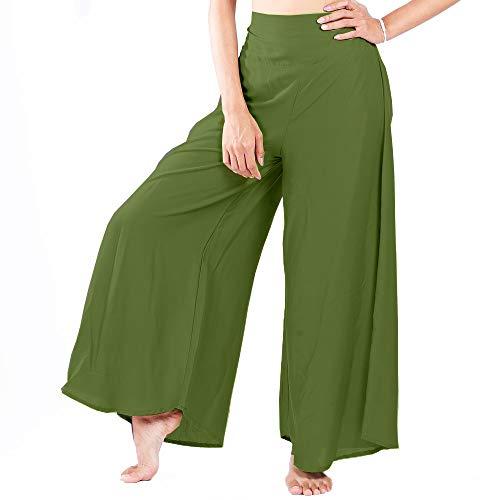 LOFBAZ Women's Wide Leg Palazzo Pants Yoga Lounge Hippie Harem Flowy Trousers Juniors Girls Printed Spring Travel Swimsuit Cover Up Beachwear Slacks - Green #28 - M