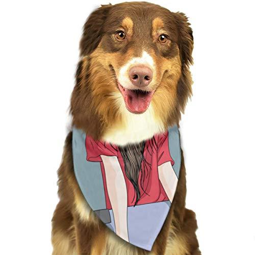 Skateboarden Meisje Aangepaste Hond Hoofddoek Heldere Gekleurde Sjaals Leuke Driehoek Bibs Accessoires Voor Huisdier Honden