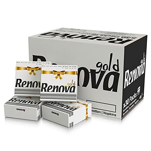 Renova Servilletas Renova Gold | 600 Servilletas Premium Blancas | Tamaño Grande | 2 Capas