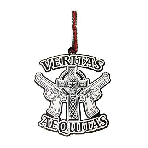 Hat Shark Aequitas Veritas Saints Gun Celtic Cross Enamel Metal Pendant Christmas Ornament Gift Seasonal Decoration