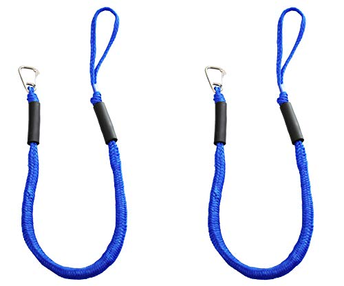 Blue Bungee Boat Dock Lines with Hook 4 Feet Dockline Mooring Rope Boat Accessories Docking Lines PWC Shock Cords for Boats Kayak, Jet Ski, Pontoon, Canoe, Power Boat Wave Runner, Watercraft 2pcs