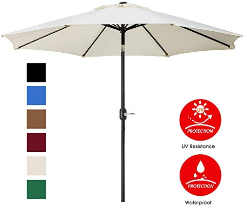 UHINOOS 9 ft Patio Umbrella,Outdoor Umbrella with Crank and 8 Ribs, Polyester Aluminum Alloy Pole Tilt Button Outside Table Umbrella, Fade Resistant Water Proof Patio Table Umbrella (Ivory)