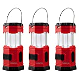 TANSOREN 3 Pack LED Camping Lantern, Solar USB Rechargeable or 3 AA Power Supply, Built-in Power Bank Emergency LED Light with S'