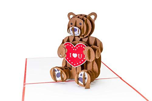 Valentinstag Karte, Bärchen mit Herz I LOVE YOU, 3D Pop Up Karte, Valentinskarte für Sie & Ihn, als Geschenk zum Valentinstag, oder als Gutschein, Liebeskarte mit Herz, Ich liebe Dich Karte