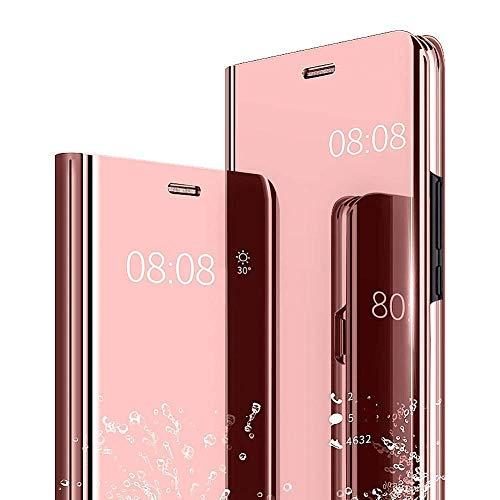 Espejo Funda para Xiaomi Redmi Y1 (Note 5A) / Note 5A Prime / Y1 Lite Slim Plegable StandCover Clear View Elegante Brillante Plating Translúcida Mirror Caso Anti-Scratch Hard Bonita Cárcasa Rosa