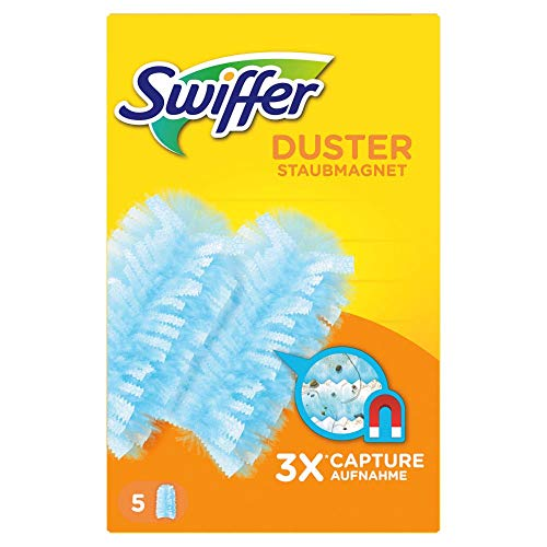 Swiffer Staubmagnet Nachfüllpack 5er Pack (5 Tücher), nimmt 3x mehr Staub & Haare auf und schließt diese ein