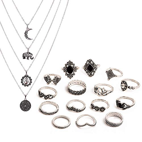 Topways Boho Style Vintage Punk Necklace Rings Party Jewelry Sets , including Multi layer Long Necklace and Women Joint Knuckle Retro Ring Set Plated Silver 15PCS (15 pcs black set)