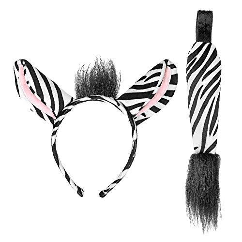 Widmann 09732 Zebra Set, Ohren und Schwanz, Damen, Weiß/Schwarz, Einheitsgröße
