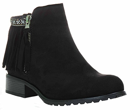 Fourever Funky Fringe Round Toe Cowgirl Vegan Suede Ankle Women's Vegan Leather Booties 6.5 Black