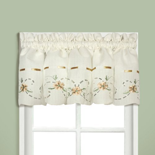 United Curtain Rachael Embroidered Straight Valance, 60 by 12-Inch, Taupe by United Curtain