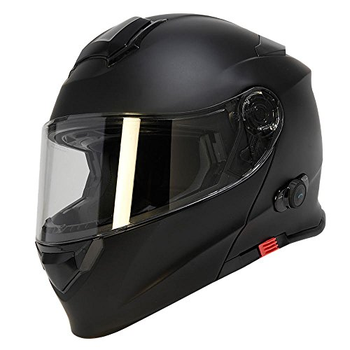 TORC Unisex-adult full-face-helmet-style T28B Bluetooth Integrated Motorcycle Helmet With Graphic (Matte Black,Large),1 Pack