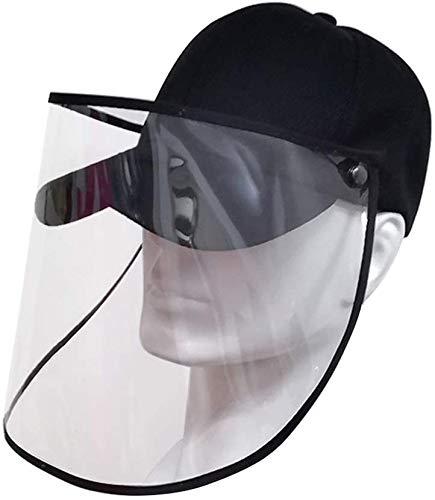 i-Tronixs Berretto da baseball per protezione facciale integrale Cappello protettivo per occhi Cappello staccabile anti-saliva staccabile, Visiera Protettiva Trasparente (Black)