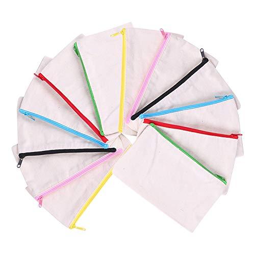 12 PCS Blanko Stoffbeutel, Federmäppchen Klein, Schulmäppchen, Mäppchen, Segeltuch Kosmetiktasche für zum DIY Bemalen, Dekorieren