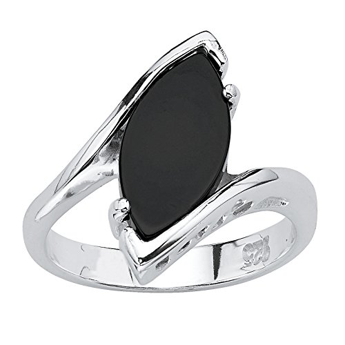 Sterling Silver Marquise Shaped Natural Black Onyx Ring Size 10