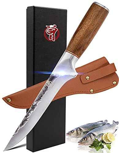 Boning Knife Fillet Knife with Sheath 6 inch Forged HC Steel Curved Flexible Blade for Filleting, and Trimming Short Bolster Chef's Knife Ergonomic Handle with Gift Box For Kitchen Outdoor BBQ Camping