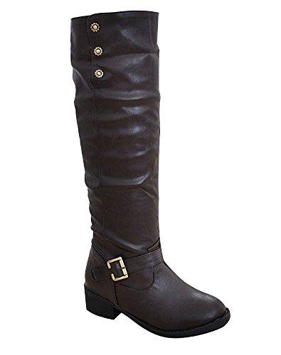 ShallGood Donna Lungo Stivali Autunno Inverno Invernali Elegante Nuovo Pelliccia Neve Stivali con Tacco Snow Stivaletti Boots Marrone EU 37