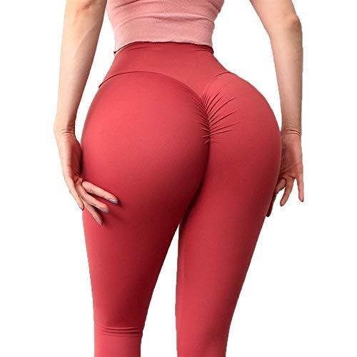 YUDIZWS Push Up Leggings para Mujer Mallas Leggins Deportivos Fitness Running Elásticos Y Transpirables Cintura Yoga Seamless (Color : Red, Size : Small)