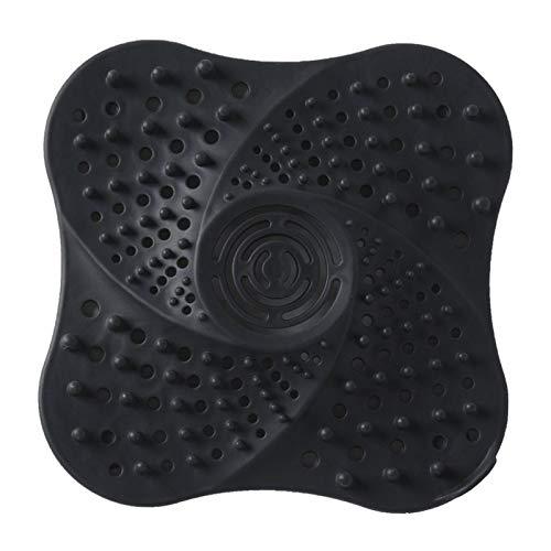Baoblaze Tapa de Drenaje para Ducha Filtro de Drenaje TPR para baño y Cocina protección de Drenaje de Ducha tapón colador Plano con Ventosa - Negro