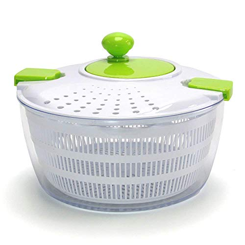 BPA Free Salad Spinner Wash and Dry Salad, Fruits, Vegetables With Strainer Lid to Rinse Spin Dry and Serve all in one