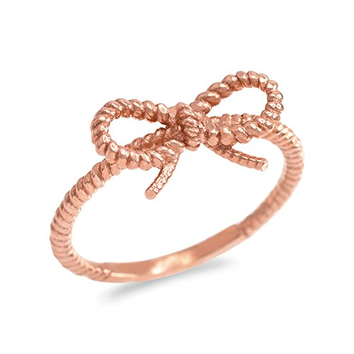 Kleine Schätze Damen Ring 14 Karat Rotgold Bandschleife Seil Entwurf