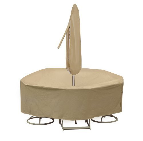 Protective Covers Weatherproof Patio Table and Highback Chair Set Cover, 48 Inch x 54 Inch Round Table, Tan by Protective Covers