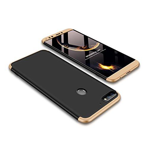 Ququcheng Kompatibel mit Huawei Y7 2018/Honor 7C Hülle,3 in 1 Ultra dünn Hard Case Schutzhülle+Panzerglas Schutzfolie 360 Grad Tasche Cover Handyhülle für Huawei Y7 2018/Honor 7C-Gold Schwarz