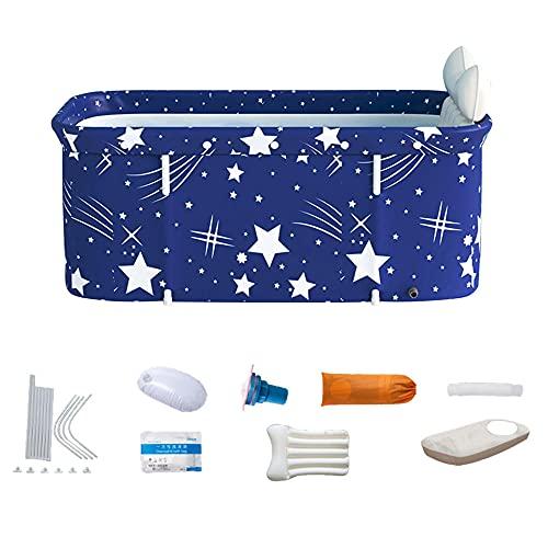 Bañera plegable portátil para adultos Set de bañera de bañera Bañera Barril Belleza Spa Bañera grande para el hogar-Azul