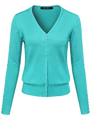 Basic Solid V-Neck Button Closure Long Sleeves Sweater Cardigan Mint M