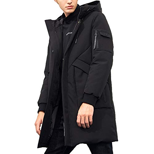 Pioneer Camp Men's Winter Coats Water-Repellent Windproof Thicken Parkas Long Hooded Padded Puffer Jacket (Black, XL)