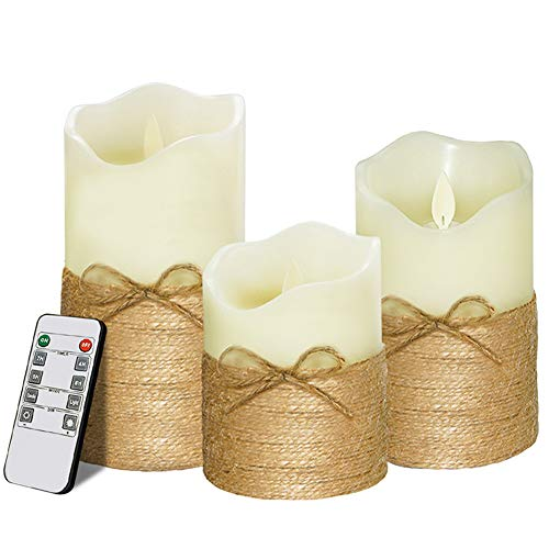 Mayround 3Pcs Flameless Wax Candles Lamp Battery Operated Real Flickering Moving LED Candle Sets with Remote Control and 8 Hours Timer, 4' 5' 6' Pack of 3pcs/Set (Style A)