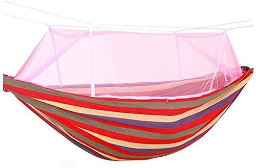 XHLLX Hamaca de jardín de Tela Colorida, Anti-mosquitis automática Anti-Rollover Hamaca al Aire Libre/jardín Camping Portátil Playa Cama Columpio Árbol