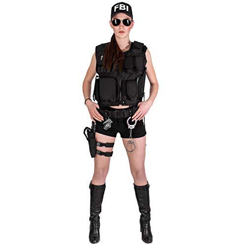 Black Snake® Damen Kostüm SWAT Police FBI Security | Einsatzweste, Beinholster, Cap, Zubehör - FBI - M/L