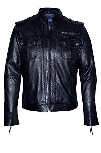 2622 Style Classique Noir Biker Designer Casual Italian Souple Veste en Cuir pour Homme (3XL)