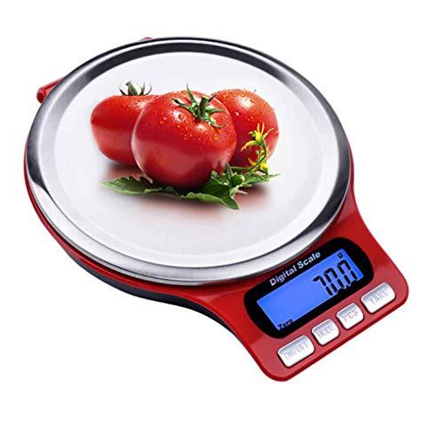 Bomcomi Digitale Küchenwaage Edelstahl Kochen der Nahrung Elektronische Waage LCD-Hintergrundbeleuchtung Display-5kg / 3kg