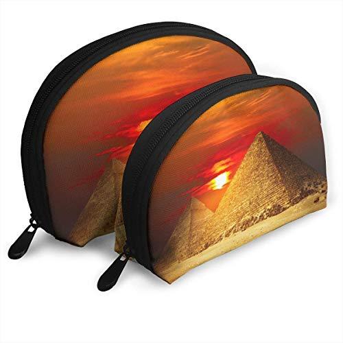 Pyramids Sunset Light Shellfish Sac cosmétique en forme de coquille Portable Sacs de rangement de luxe Trousse de toilette