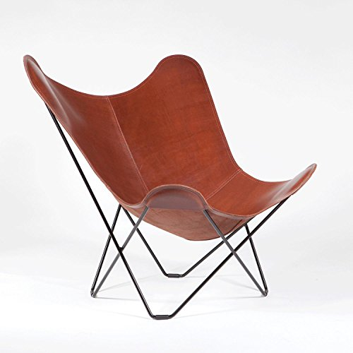 cuero Pampa Mariposa Butterfly Chair - Sillon marrón/Oak 71/armazón negro