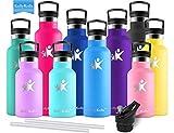 KollyKolla Gourde INOX Isotherme, Bouteille d'eau avec Paille & Filtre sans BPA, Isolation sous Vide en Acier...
