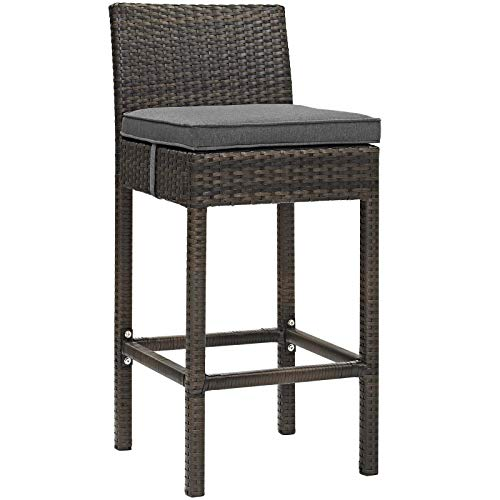 Modway Conduit Wicker Rattan Outdoor Patio Bar Stool with Cushion in Brown Charcoal