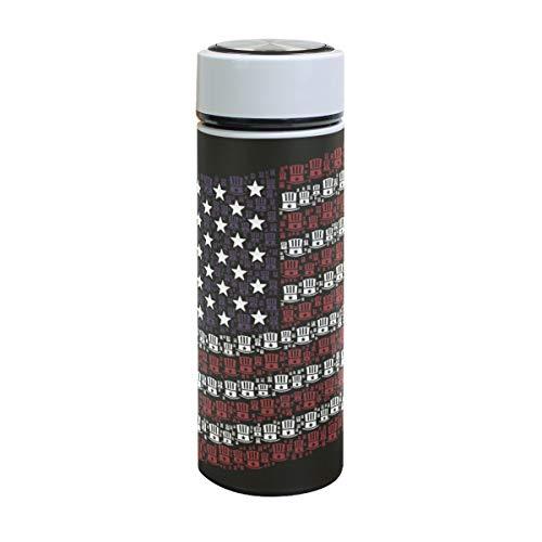 Emoya Botella de agua de acero inoxidable de 500 ml, bandera de Estados Unidos, sombreros de estrellas, botella de agua aislada al vacío, sin BPA, a prueba de fugas, doble pared, boca ancha para bebidas frías y calientes, 17 onzas