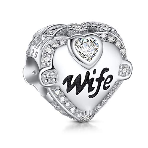 NINGAN I Love Wife Charms fit Pandora Charms Bracciali, 925 Sterling Silver Rose Gold Charm Bead per...