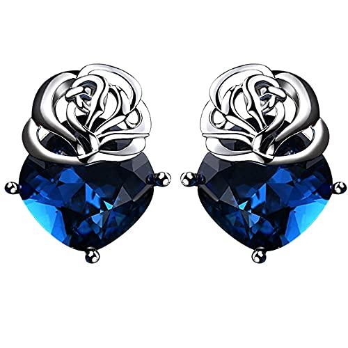 AZPINGPAN 1 par de aretes con Forma de Rosa, Corte Tridimensional, Cristal Azul, Americana, aretes exagerados, Plata de Ley 925, joyería Exquisita para Dama