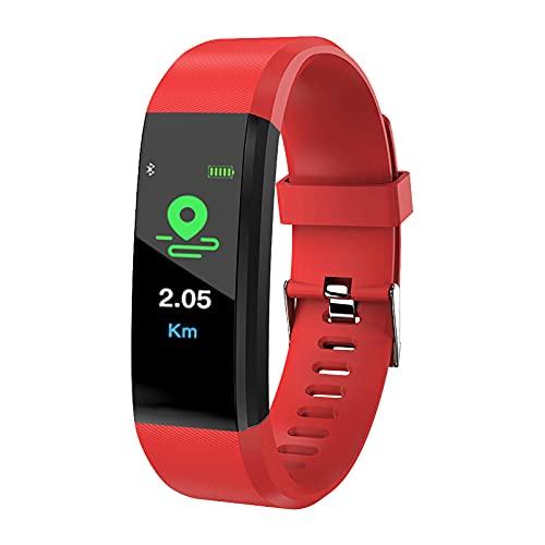 Pulsera de fitness con monitor de actividad IP67 resistente al agua con pulsómetro, pantalla a color de 0,96 pulgadas, rastreador de actividad, pulsómetro, reloj inteligente para hombre y mujer