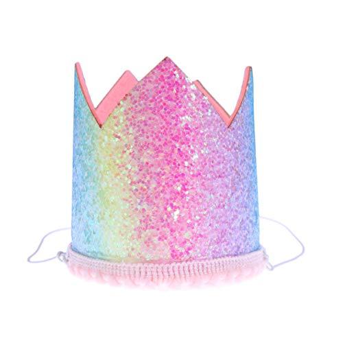 Happyyami Glitzer Regenbogen Krone Kappe für Baby-Dusche Geburtstag Haustier Foto Prop