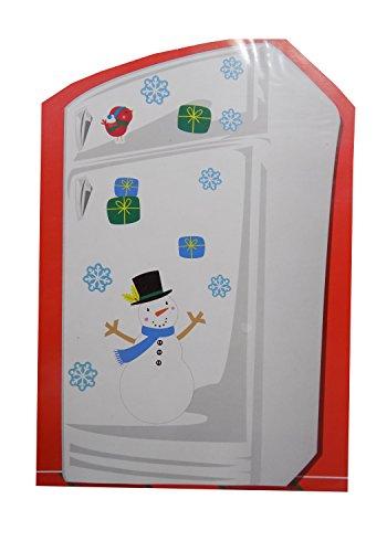 Juego de decoración de imán para nevera o puerta de metal (Construye un muñeco de nieve)
